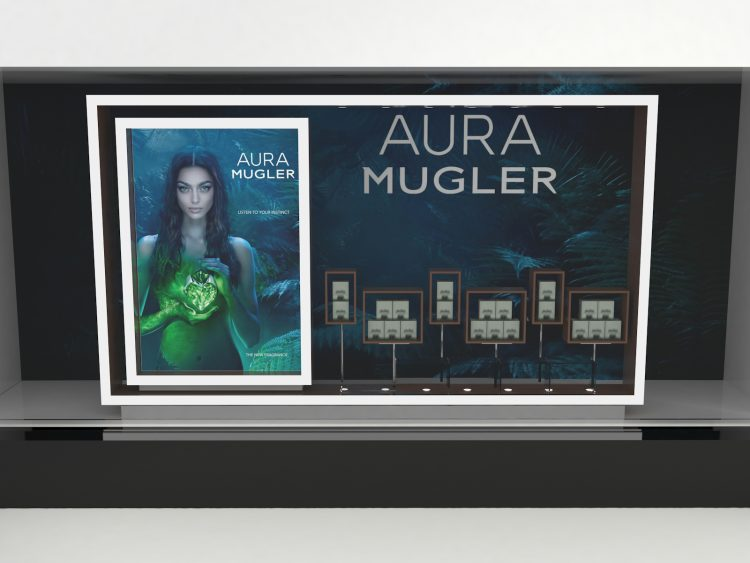 Retail window display for Thierry Mugler's Aura fragrance