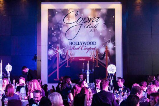 Event branding graphics within the ballroom