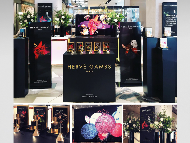 Pop-up display for Herve Gambs at Harvey Nichols, comprising of bespoke counter top displays, freestanding units and lightbox prints, all produced and installed by Colouration